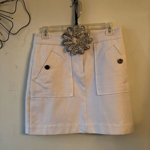 Loft A-line White Casual Skirt.